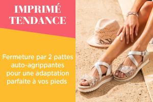IMPRIMÉ TENDANCE  Fermeture par 2 pattes auto-agrippantes pour une adaptation parfaite à vos pieds