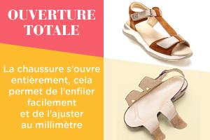 OUVERTURE TOTALE  La chaussure s'ouvre entièrement, cela permet de l'enfiler facilement et de l'ajuster au millimètre