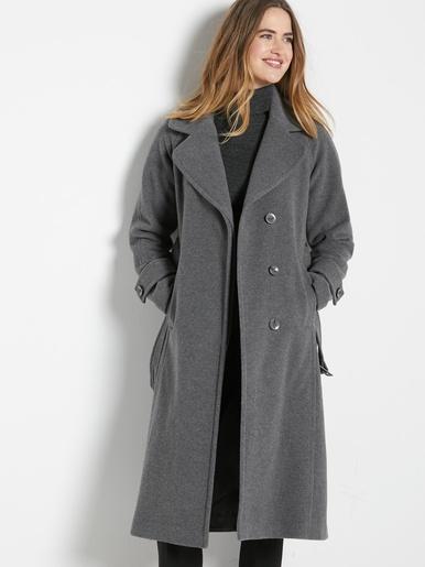 Manteau en drap de laine 7% cachemire