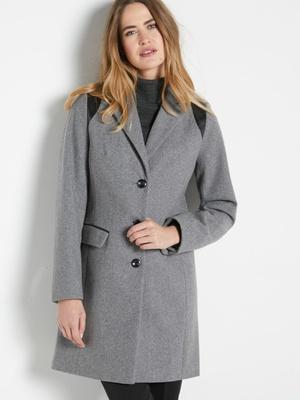 Manteau coupe droite en drap de laine