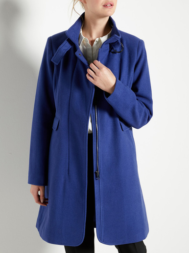 Manteau à col montant à boucle - Balsamik - Bleu