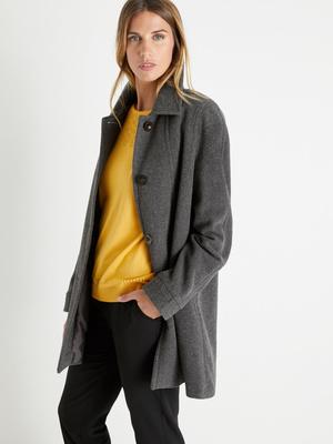 Manteau 3/4 drap de laine et cachemire