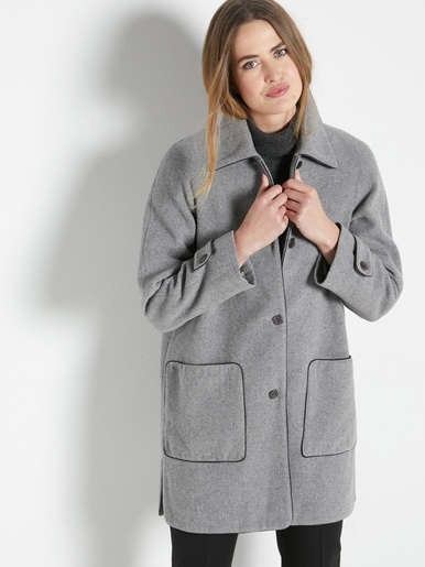 Manteau caban 70% laine - Charmance - Gris chiné