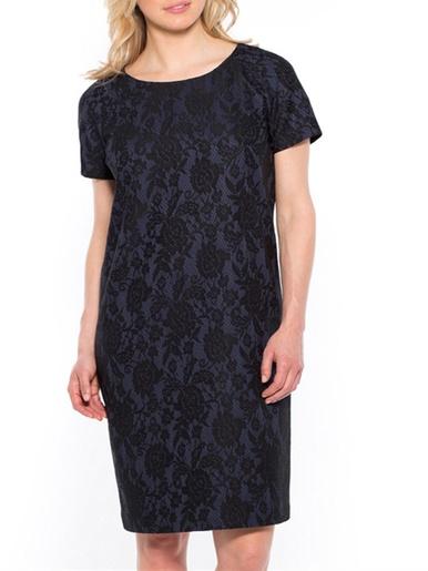 Robe motif dentelle stature + d'1,60m - Les essentiels - Jacquard bleu