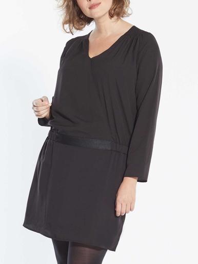 Robe courte unie poitrine généreuse - Balsamik - Noir
