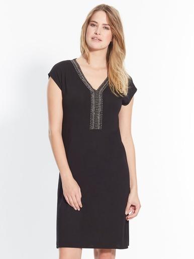 Robe housse avec perles fantaisie - Kocoon - Uni noir