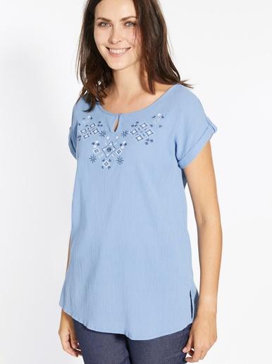 Tunique créponnée pur coton brodée - Kocoon - Bleu