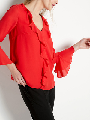 Blouse fluide à volants encolure V