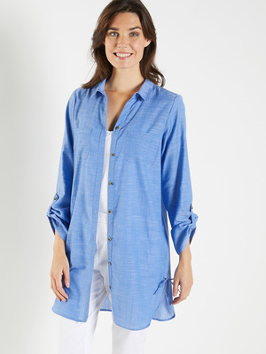 Chemisier long chambray pur coton