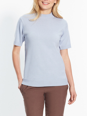 Pull col montant, manches courtes