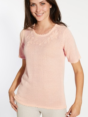 Pull brodé manches courtes
