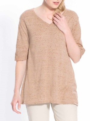 Pull V maille fantaisie manches courtes