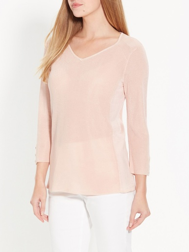 Pull encolure V - secrets de mode - Rose