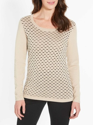 Pull encolure ronde, point fantaisie