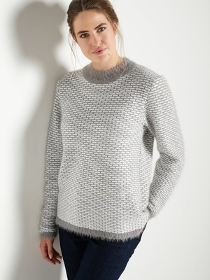 Pull maille fantaisie col montant