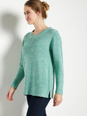 Pull col V maille chinée