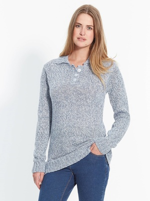 Pull col polo chiné