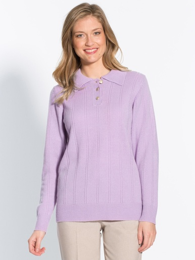 Pull col polo maille fantaisie