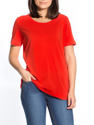 Tee-shirt uni col rond, manches courtes