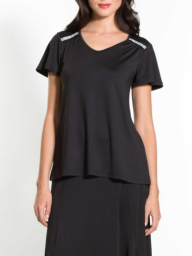 Tee-shirt fantaisie - Créaline - Noir
