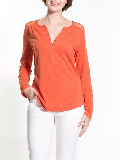 Tee-shirt manches retroussables -  - Orange