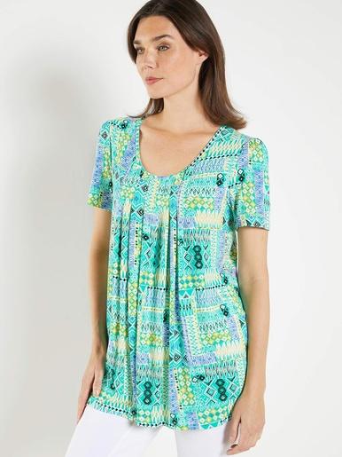 Tunique imprimée avec plis d'aisance - Balsamik - Imprimé vert