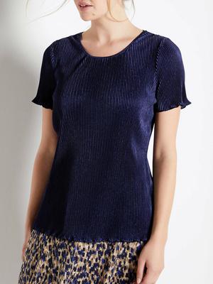 Tee-shirt maille plissé manches courtes