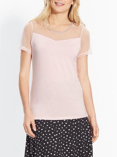 Tee-shirt bi-matière - Créaline - Rose