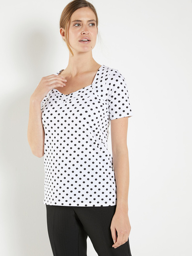 Tee-shirt à pois - Charmance - Blanc/pois noirs