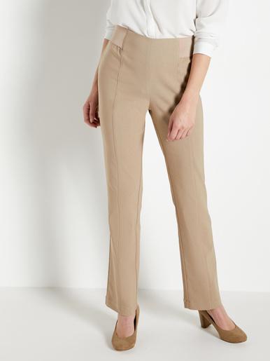 Pantalon effet ventre plat tissu uni - Balsamik - Beige