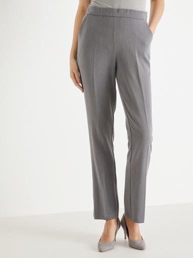 Pantalon droit effet ventre plat - Charmance - Gris chiné
