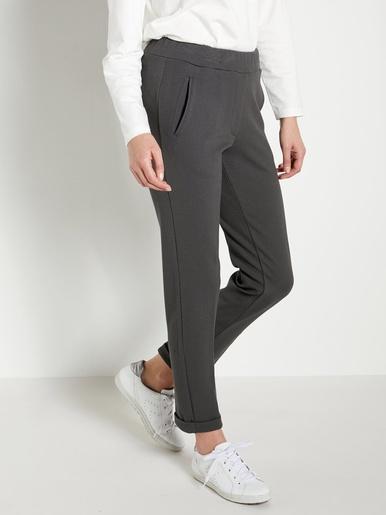 Pantalon en maille crêpe élastiqué