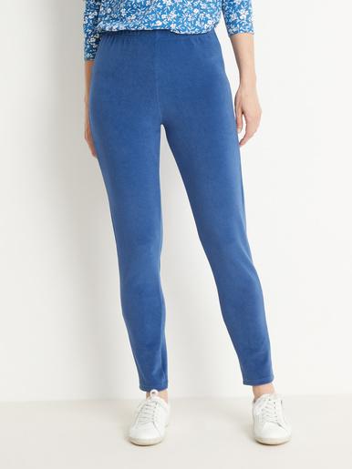 Legging uni en velours extensible - Kocoon - Bleu