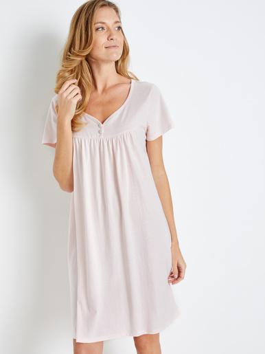 Chemise de nuit courte unie lot de 2 - Lingerelle - Rose + ciel