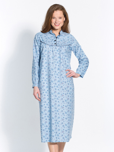 Chemise de nuit en coton émerisé - Lingerelle - Imprimé bleu
