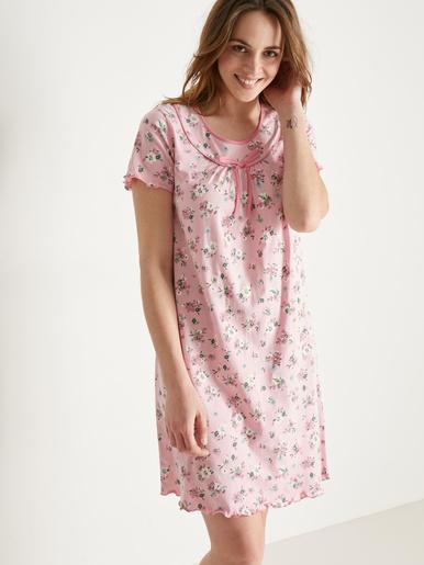 Chemise de nuit coton manches courtes