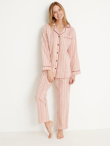 Pyjama en flanelle pur coton - Lingerelle - Rayé taupe/saumon