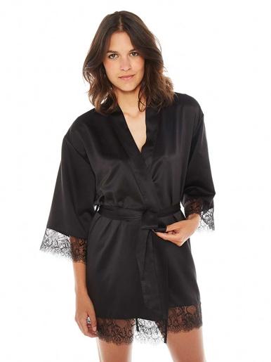 Peignoir kimono Dallas - Pommpoire - Noir