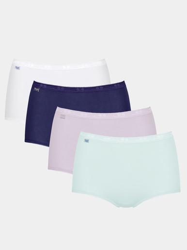 Culotte maxi lot de 3 + 1 gratuite - Sloggi - Marine + turquoise + lilas + blanc