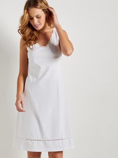 Fond de robe en pur coton, long. 100cm - Lingerelle - Uni blanc