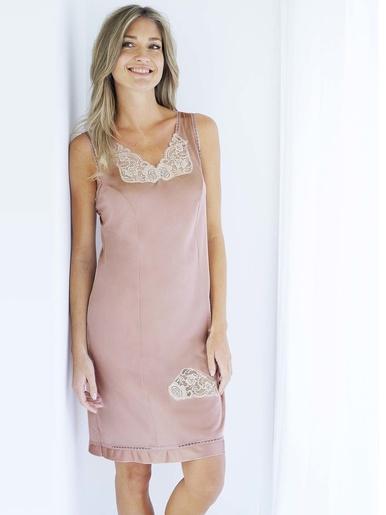 Fond de robe maille satinée long 90cm - Lingerelle - Rose
