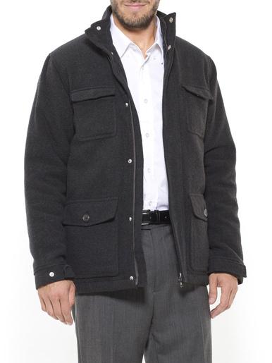 Parka courte drap de laine - Les essentiels - Gris chiné