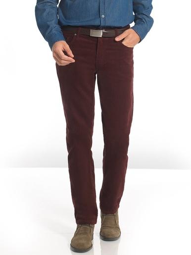 Pantalon 5 poches en velours pur coton - Honcelac - Bordeaux
