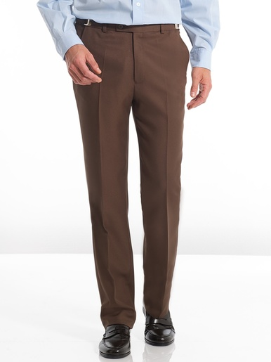 Pantalon en tissu uni souple - Honcelac - Marron