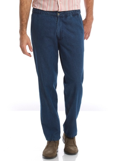 Jean droit pur coton taille élastiquée - Honcelac - Denim stone