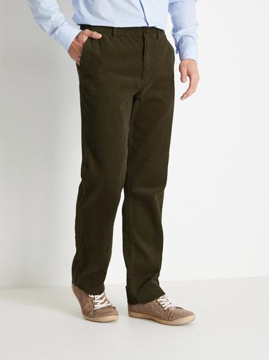 Pantalon droit en velours - Honcelac - Kaki
