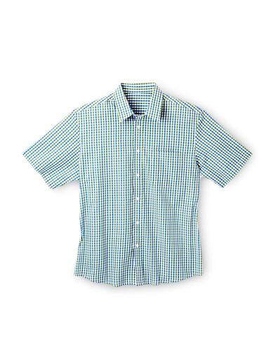 Chemise manches courtes coupe droite - Balsamik - Petits carreaux verts