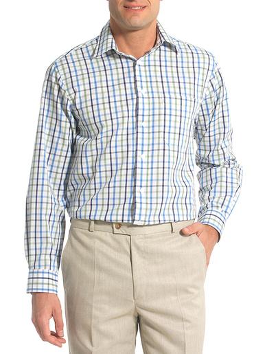 Chemise manches longues coupe droite - Honcelac - Grand carreaux verts