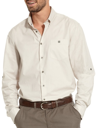 Chemise droite pur coton, carrure large - Balsamik - Beige