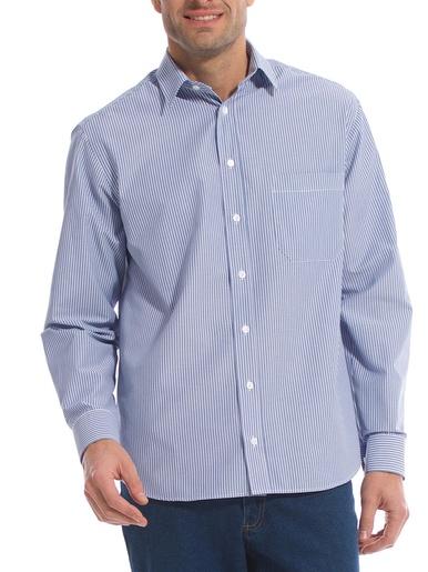Chemise rayée, manches longues - Honcelac - Bleu rayé blanc